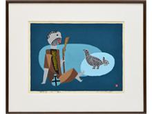 「親子鳥」 木版画