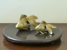 銅製金魚置物
