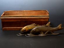 古銅 鯉置物