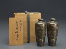 明治期金銀象嵌銅製花瓶壺對