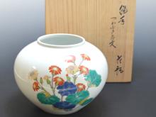 菊鳥文花瓶