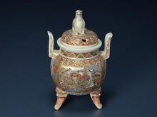 薩摩焼 色絵金襴手香炉