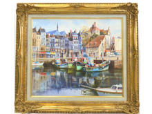 「秋の港」油彩