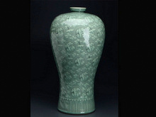 高麗青磁象嵌雲鶴紋梅瓶