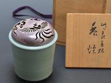 青磁 香炉 (銀製火屋)