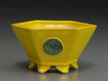 美功 黄釉六角鉢