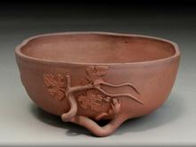 朱泥葡萄栗鼠文 盆栽鉢