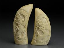 栄川作 抹香鯨 鯨歯彫刻