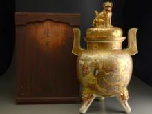 薩摩焼 金襴手武将文花瓶