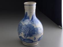 染付山水図花瓶
