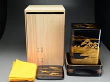 蒔絵師 信斉作 輪島塗 蓬菜蒔絵四段