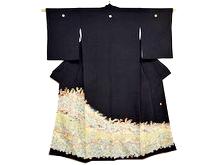 作家物 花紋に鶺鴒黒留袖