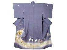波に鶴絵図色留袖