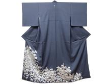 銀糸刺繍菊模様色留袖