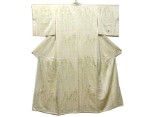 日本刺繍 流水に枝垂柳文様付下