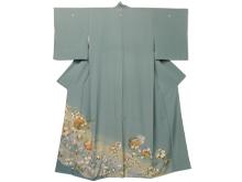 加賀友禅 流水に四季草花文様色留袖