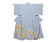 鶴に蛇籠文様色留袖