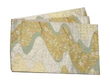 流水に枝垂柳金箔袋帯