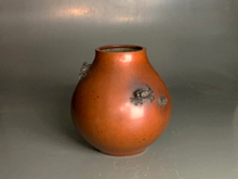 桂光春 蟹飾 銅花瓶