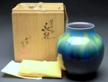 九谷焼 彩釉 花瓶
