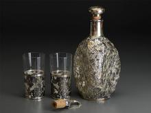 三越 銀製透かしガラスデキャンタ